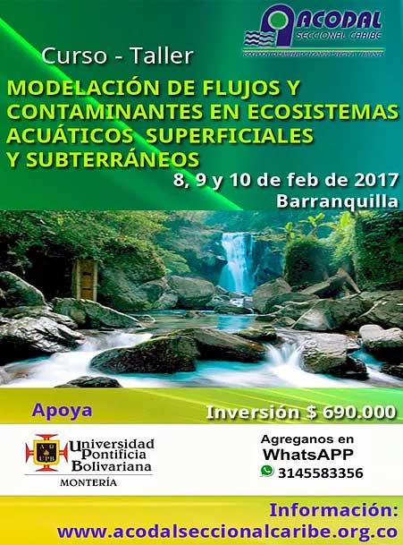 CURSO – TALLER MODELACIÓN DE FLUJOS Y CONTAMINANTES EN ECOSISTEMAS ACUÁTICOS SUPERFICIALES  Y SUBTERRÁNEOS –  8, 9 Y 10 DE FEBRERO 2017