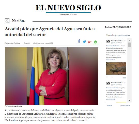 ACODAL PIDE QUE AGENCIA DEL AGUA SEA ÚNICA AUTORIDAD DEL SECTOR