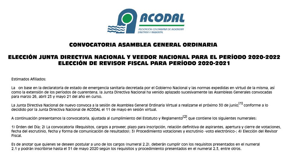 ELECCIÓN JUNTA DIRECTIVA NACIONAL Y VEEDOR NACIONAL PARA EL PERÍODO 2020-2022. ELECCIÓN DE REVISOR FISCAL PARA PERÍODO 2020-2021