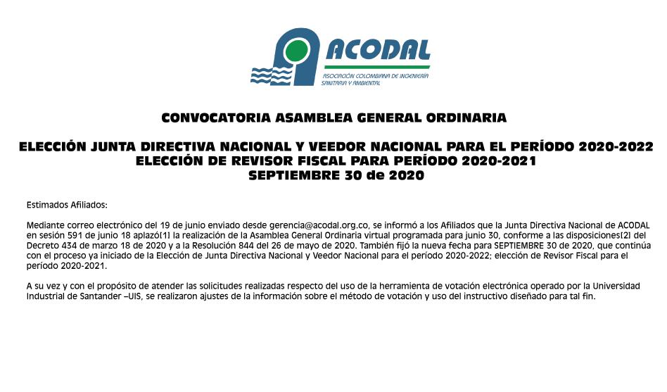 CITACIÓN Asamblea General Ordinaria de septiembre 30 de 2020