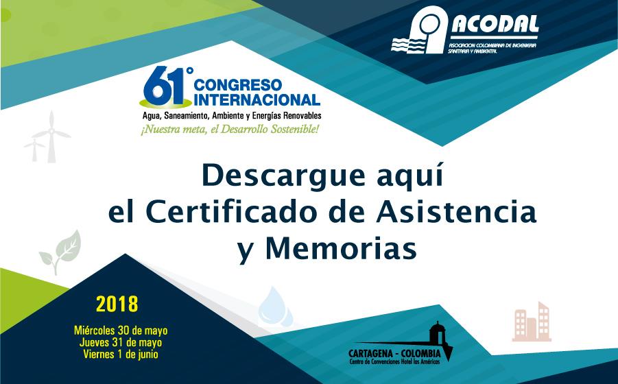 Memorias y Certificado del 61º Congreso ACODAL