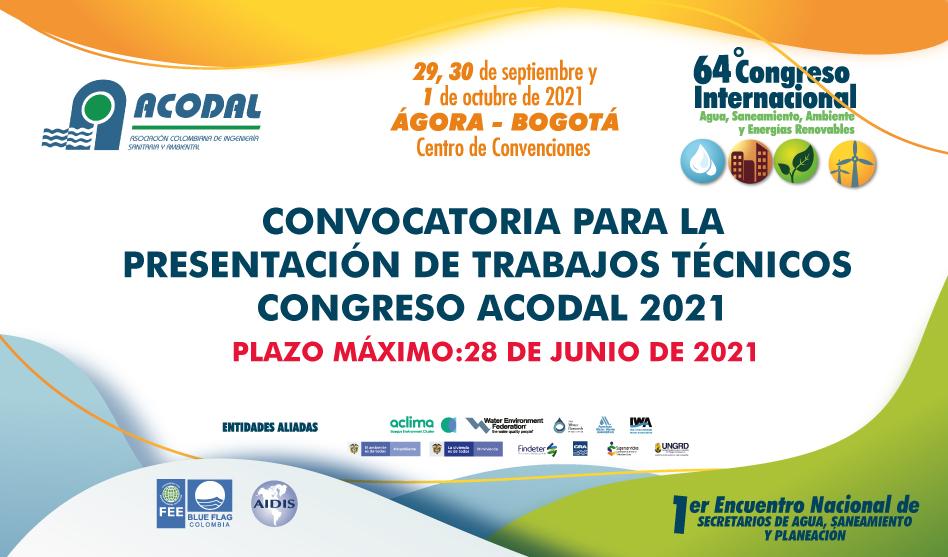 CONVOCATORIA PARA LA PRESENTACIÓN DE TRABAJOS TÉCNICOS  CONGRESO ACODAL 2021