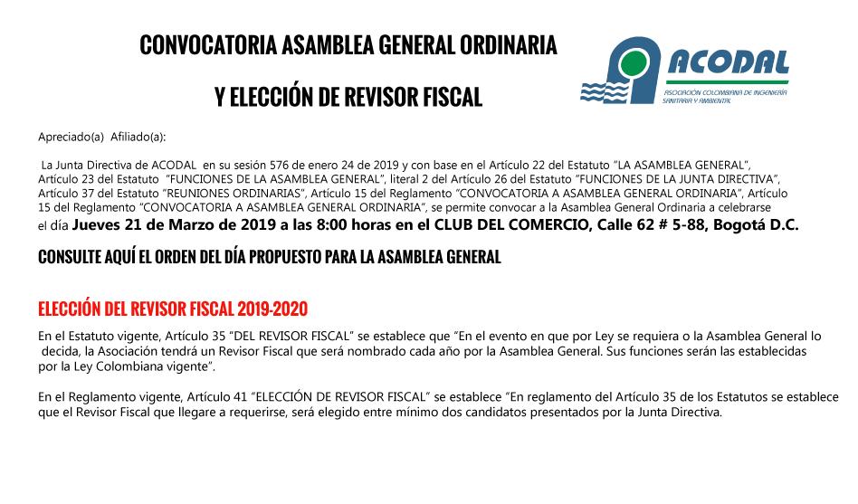 CONVOCATORIA ASAMBLEA GENERAL ORDINARIA  Y ELECCIÓN DE REVISOR FISCAL