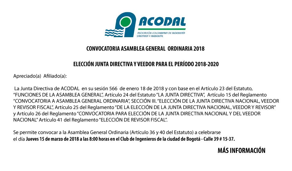CONVOCATORIA ASAMBLEA GENERAL ORDINARIA 2018 – ELECCIÓN JUNTA DIRECTIVA Y VEEDOR PARA EL PERÍODO 2018-2020